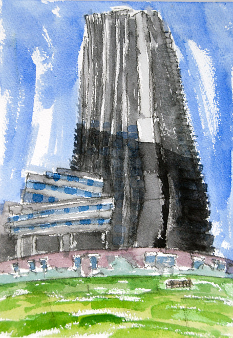 Lauderdale Tower and Brandon House II, Barbican 2006 (Watercolour) (51x36) Fergus Murray