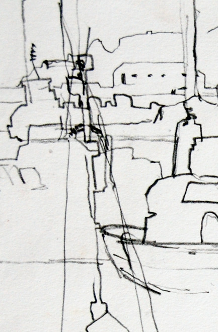 Detail Newlyn Harbour 10 2005 (Pencil) (30x20)Fergus Murray Drawing