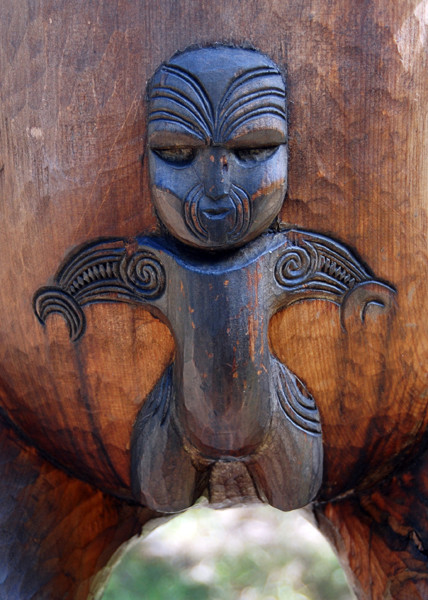Detail of Maori tradtional carving at Karekare Beach, Auckland. I am unsure if this represents the male or female gender.