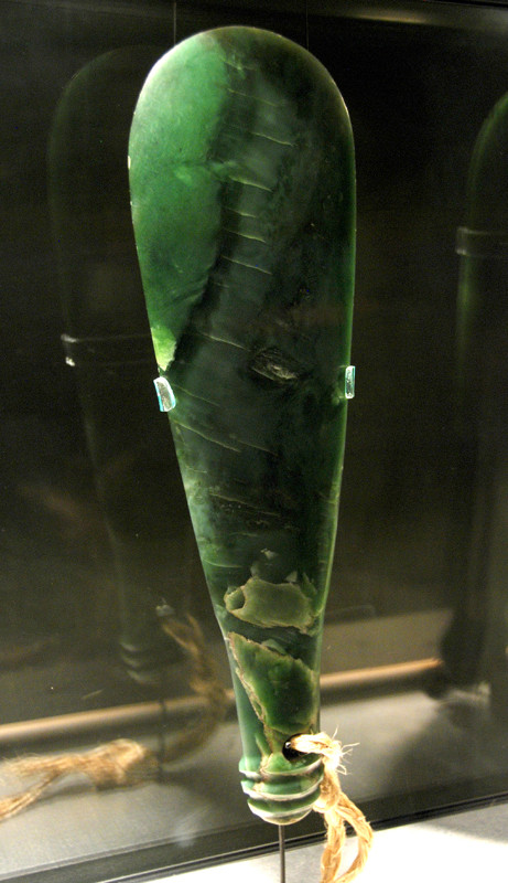 Pounamu/greenstone club known as a 'mere punamu' and was a symbol of authority (Otago Museum). Such weapons were painstakingly made and passed down through the generations, often acquiring a specific name in the process.