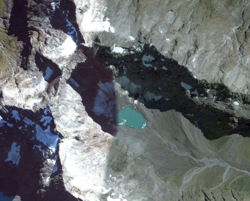 The headwaters that feed Christies Falls start at the small lake above under the peak of Mt Suter (2,094m) (NZ TopoMap).