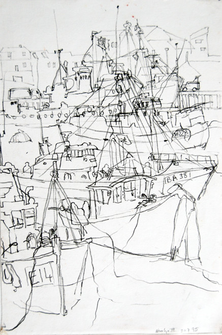 Newlyn Harbour 6 2005 (Pencil) (30x20) Fergus Murray Drawing