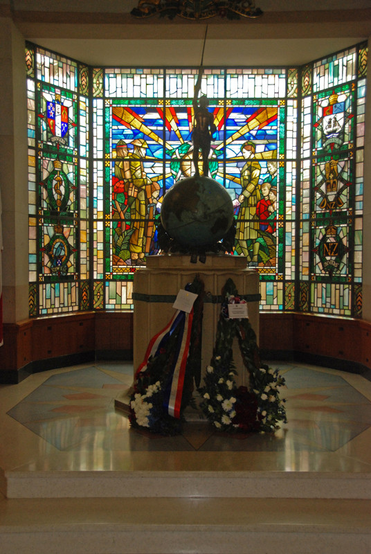 IIWW Memorial and stained glass windows in the Auckland War Memorial Museum.