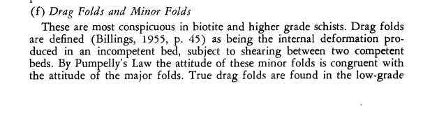 Competent and incompetent beds and Pumpelly's Law of folding (from BM Gunn, Structural Features of the Alpine Schists of the Franz Josef-Fox Glacier Region - New Zealand Journal of Geology and Geophysics May 1960 p.288)