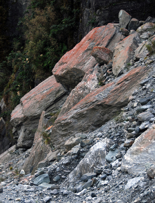 Massive rock debris high up on the valley side: lateral moraine material left by one of the Fox Glacier's many retreats