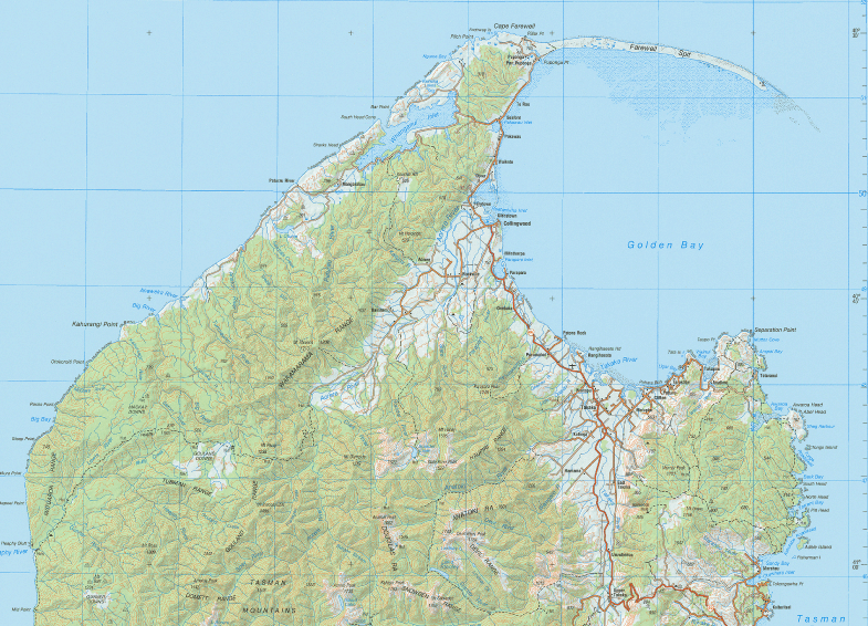 Golden Bay with the Abel Tasman National Park to the east and the Kahurangi National Park to the west (from NZ Topo Map).