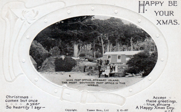 Postcard of Paterson Inlet Post Office, Ulva Island – Sent Christmas 1919 Lemuel Lyes Collection. Note the size of the introduced Monterey Pines and Cypress behind the post office. (Click for link to