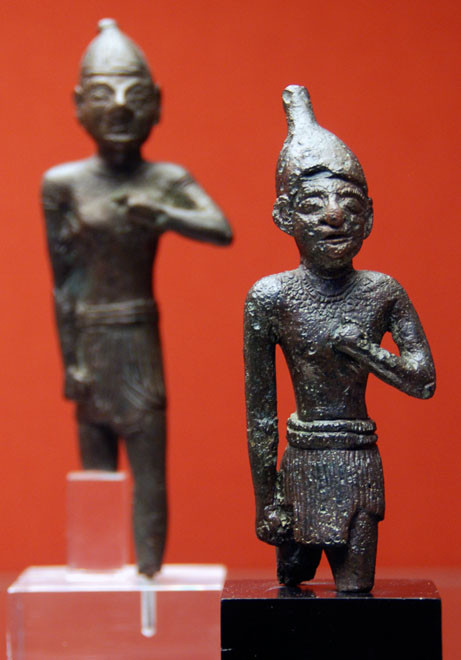 Two Bronze Statuettes of Men in Egyptian Costume, 550BC Idalion, British Museum