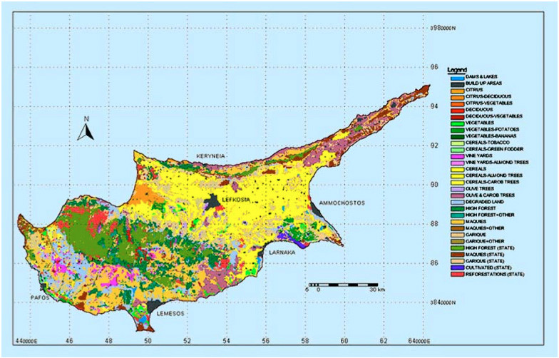 Land use map of Cyprus: natural vegetation & agricultural use