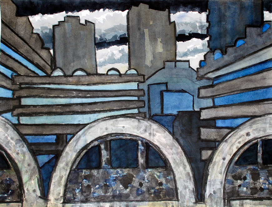 Schematic view of Barbican from below Willoughby House 2006 (Watercolour) (57x76)
