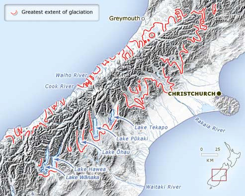 This map shows the maximum extent of ice during the last (Ōtira) glaciation, between 75,000 and 14,000 years ago (http://www.teara.govt.nz click map to go there)