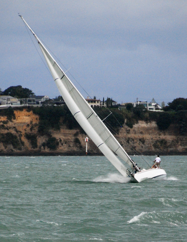 Messing with the post-Cyclone Lusi wind in the Motukorea Channel off Auckland's South Shore.