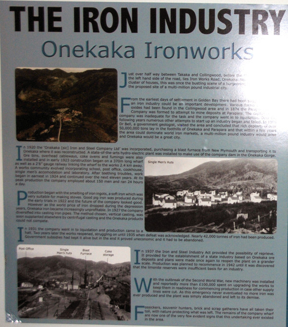 Placid Golden Bay once rang to the sound of iron furnaces running 24 hours a day between Takaka and Collingwood (Iron Works signage).
