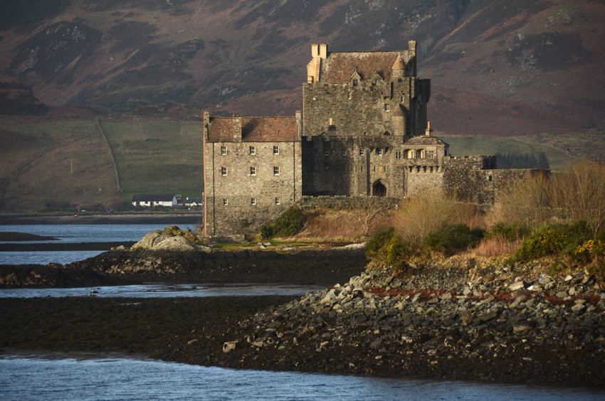 Eilean Donnan Castle on Loch Duich between Kyle of Lochalsh and Shiel Bridge.