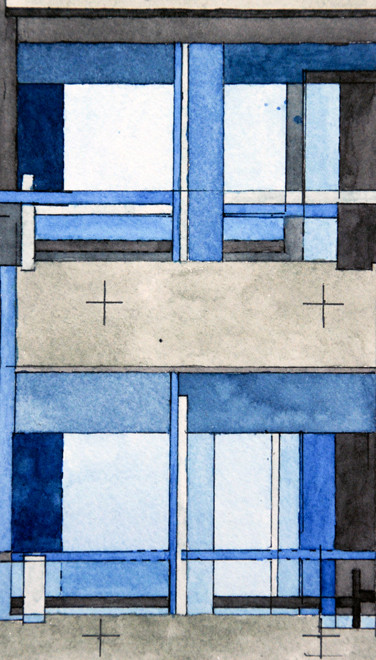 Windows and balconies, Speed House, Barbican 2006 (Watercolour)  (19x11) Fergus Murray