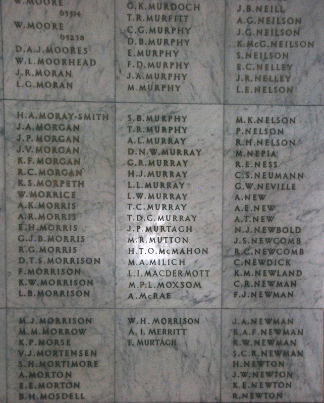 Part of one of the marble slabs with the engraved names (with particular reference to the Murrays and Mortons) of the fallen in one of the two Halls of Memory on the top floor of the Auckland War Memorial Museum. My father fought in the US Navy Pacific ca