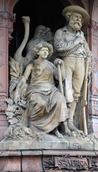 The representation of South Africa on Sir Henry Doulton's (1820-97) 'Doulton Fountain', the largest terracotta fountain in the world. It celebrates Britain's Imperial achievements and Queen Victoria's