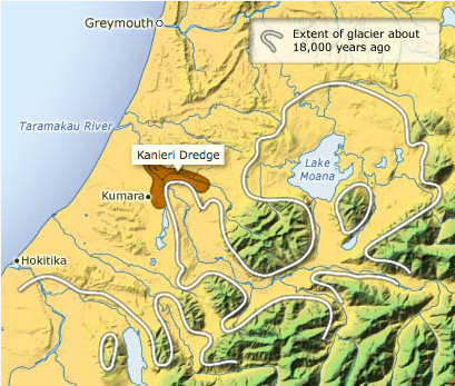 Extent of glaciation in the Taramakau Valley and occurence of rich, gold bearing moranic gravel deposits (Click for source)