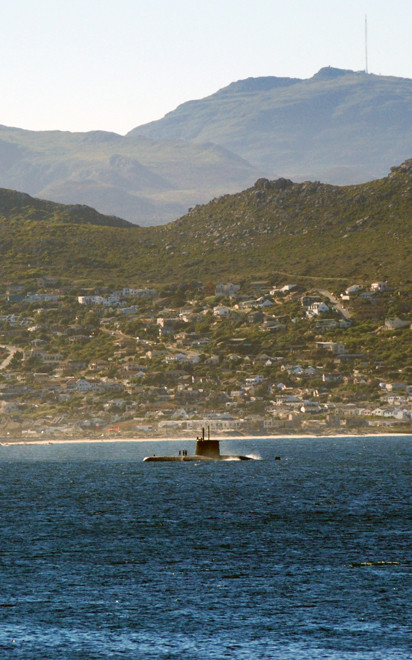 Submarine of the South African NAvy returning to Simon's Town base