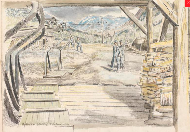 Cable Railway built by the Germans in Kitdal Stephen Bone, British War Artist, 1945 © IWM (Art.IWM ART LD 5316) http://www.iwm.org.uk/collections/item/object/3230). Built to ferry supplies to troops in bunkers in the Norddalen (it started nr Mallnitz).