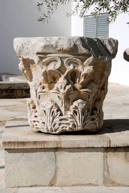 Marble column capital, Larnaca Archeological Museum.