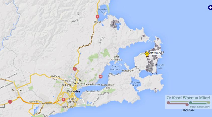 Sole or jointly held Maori land in the Dunedin district (dark grey shaded) from Maori Land Online website http://www.maorilandonline.govt.nz