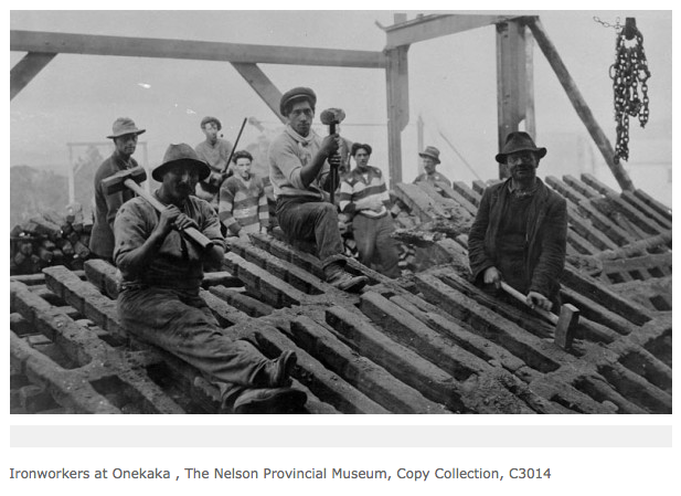 Onekaka Ironworkers breaking-up the cast pigs from the feeding rail for shipment (The Prow - click for link).