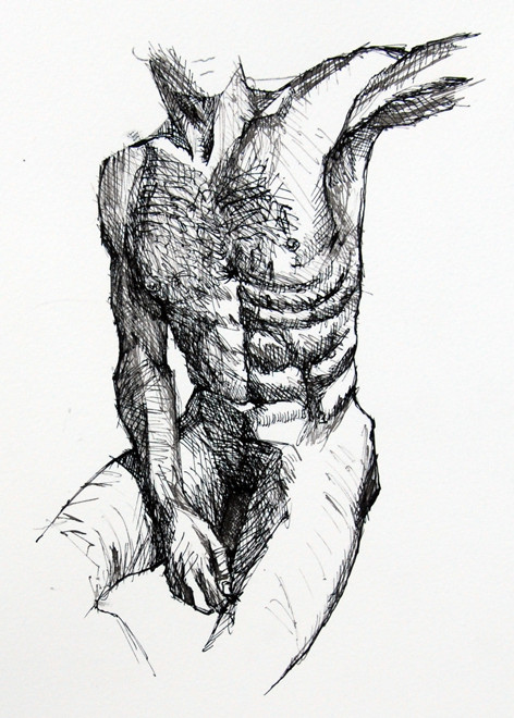 Sitting Quarter Turn: Anatomy Study IV (ink) Fergus Murray