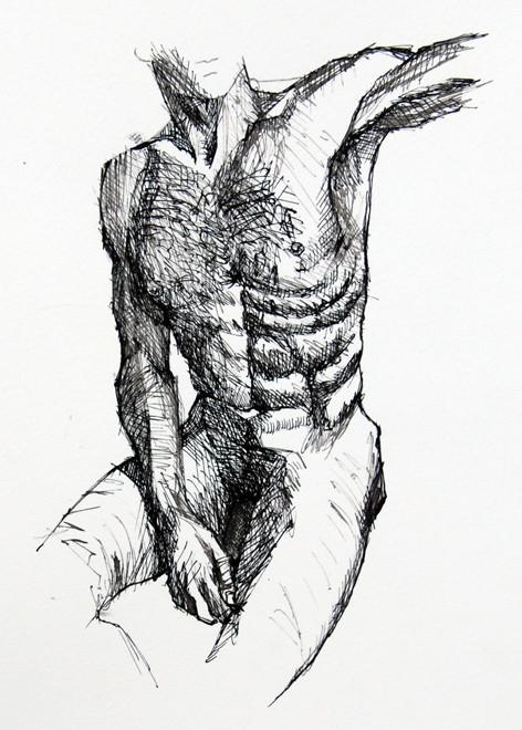 Sitting Quarter Turn: Anatomy Study IV (ink) Fergus Murray