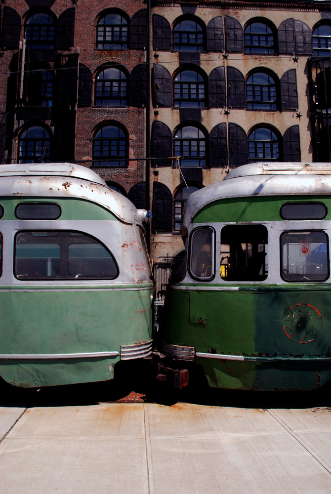 Old street cars and warehouse, Red Hook waterfront