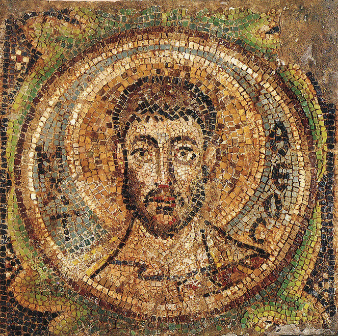 St Matthew the Evangelist, Mosaic 525-30 from the Church of the  Virgin Kankaria Lythrankome. Recovered from Turkish looters  in Germany and repratriated 30th August 1991.