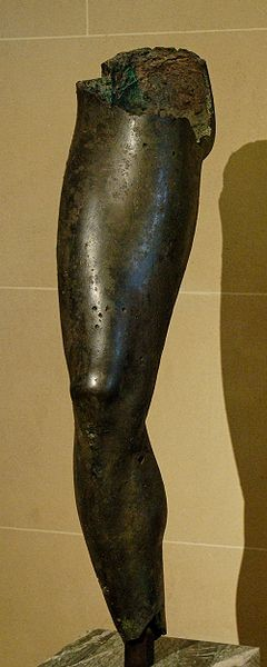 Bronze leg found near Tamassos, Louvre Museum (Thanks to Marie-Lan Nguyen and Wikimedia Commons