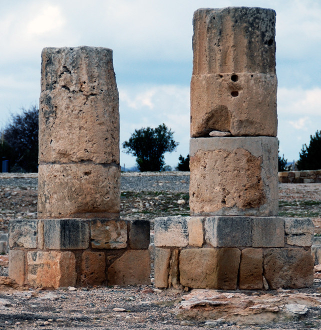 Doric pillars and their square bases from the South Stoa of  the Roman Sanctuary at Palaepaphos (Kouklia, January 2013).