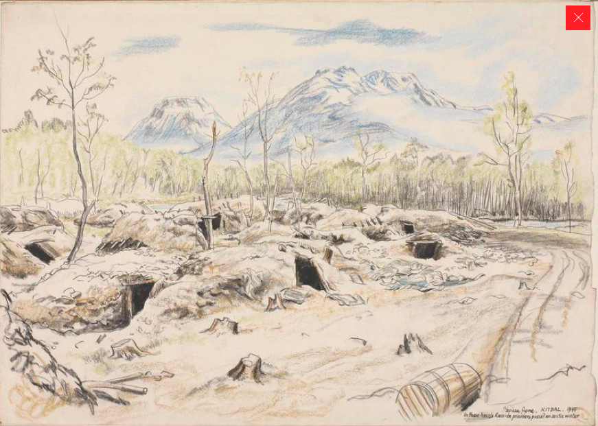 Living graves.The so-called 'Cave Camp' at Kitdal (Stephen Bone, British War Artist, 1945 © IWM (Art.IWM ART LD 5318 http://www.iwm.org.uk/collections/item/object/3232) Caption: 'In these hovels Russian prisoners passed an arctic winter'.