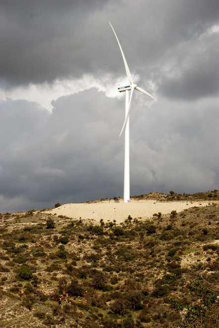 The controversial Orietes Forest Wind Farm, the only one in Cyprus (January 2013).