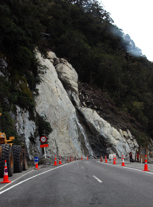 The giant scar left by a massive landslip on the Haast Pass/Tioripatea, March 2014. Two Canadians were swept to their death in a camper van.