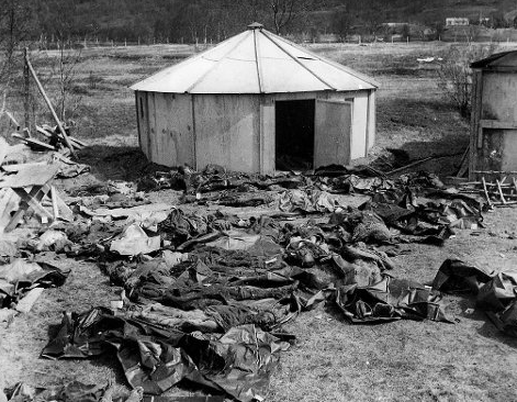 Exhumed prisoners at the time of the War Crimes Commission visit: Mallnitz PoW camp, Storfjorden, Troms County, Norway.