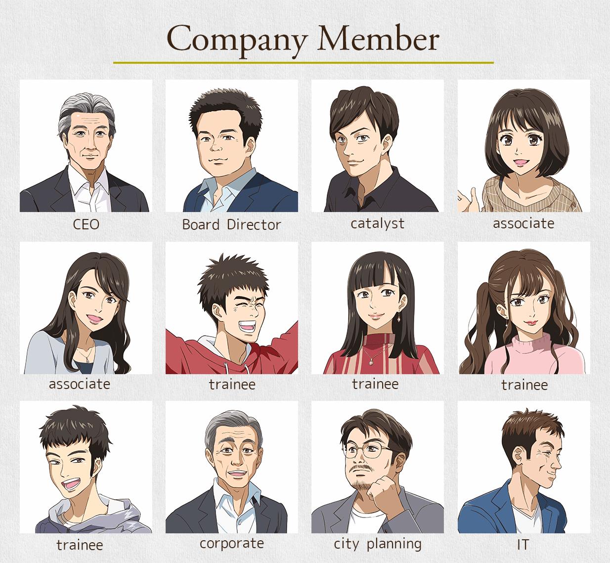 企業の社員紹介ページに、社員さん18名の似顔絵を制作させていただきました