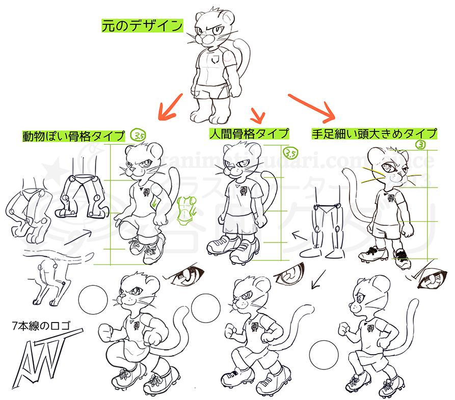 FCAWJ黒豹マスコットキャラクターラフ3