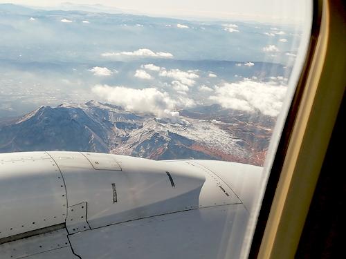飛行機で上から見る阿蘇山