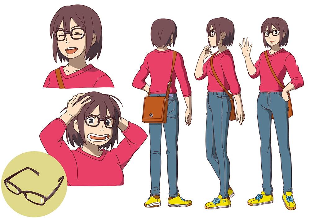 似顔絵のアニメキャラクター風三面図