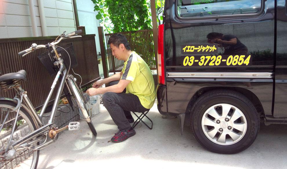 ご自宅での自転車修理風景