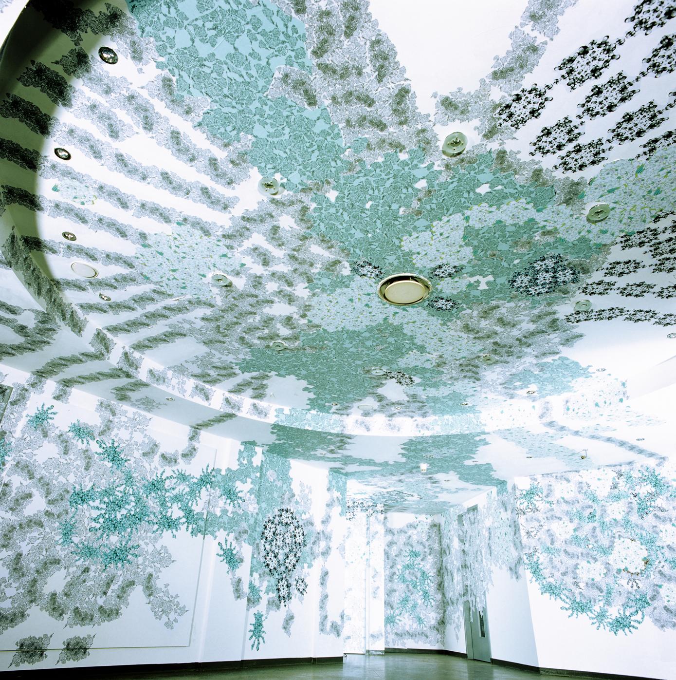 """""""Odyssee 2001"""", 2001, Raumcollage mit duplizierten Handzeichnungen, art @ponton, Hamburg (Foto: Ralf Timm)"""