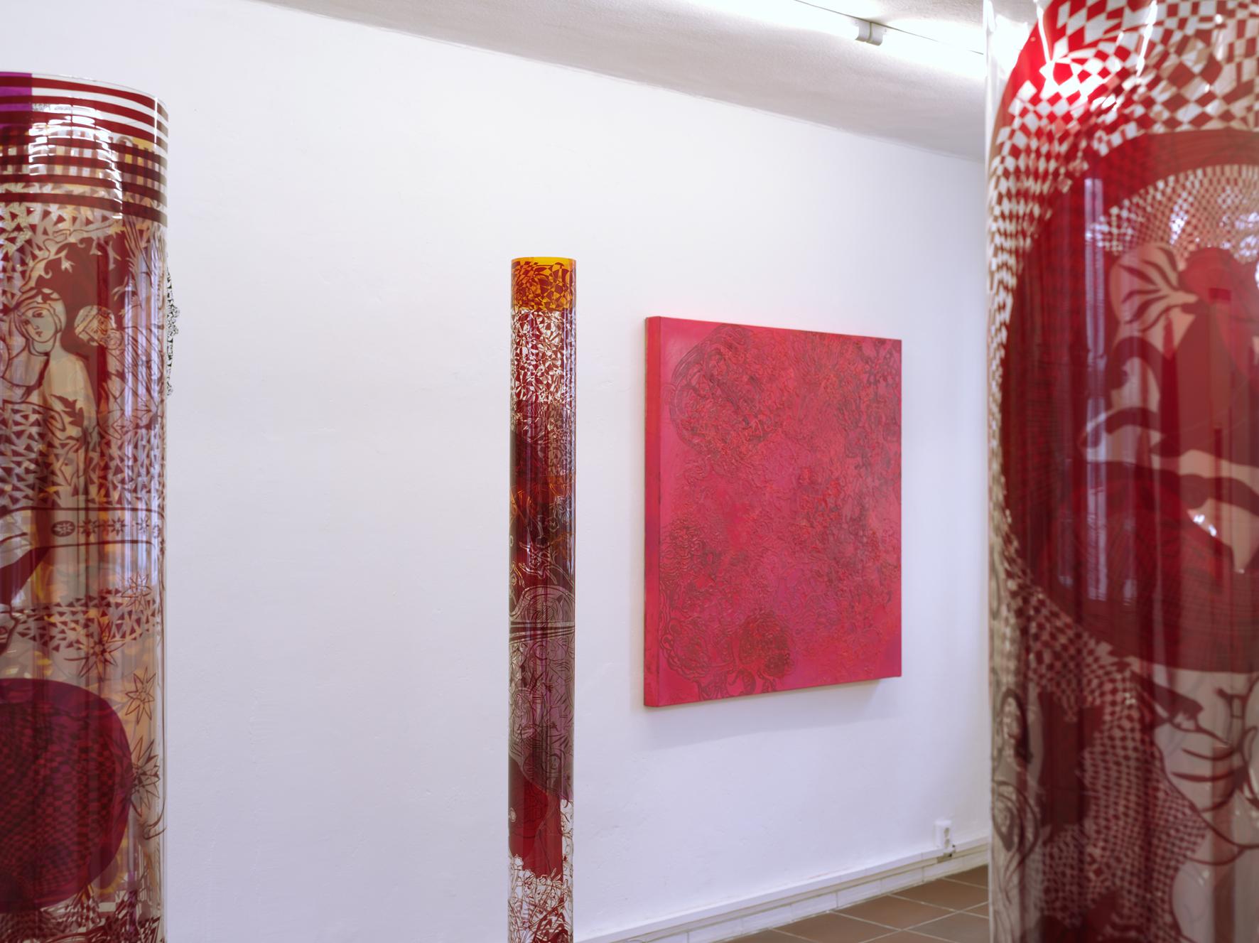 """Klostermosaik"", 2012, 120 x 120 cm, Öl auf Leinwand, ""Sounds of Silence"" 2013, Bräuning Contemporary, Hamburg (Foto: Ralf Timm)"