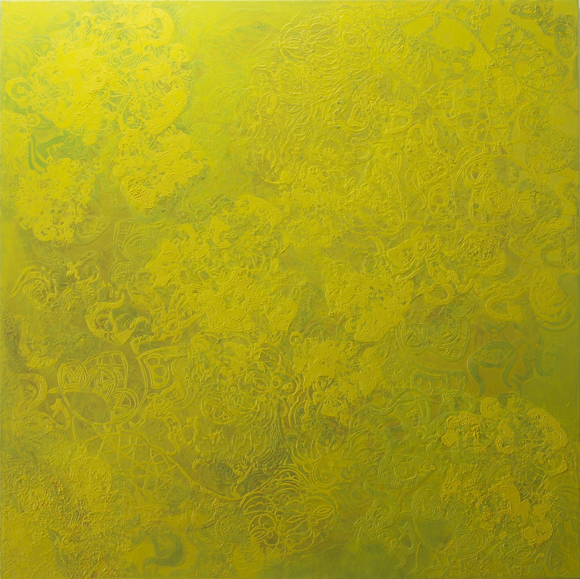 """Tempelspur"", 2012, Detail, 120 x 120 cm, Öl auf Leinwand"