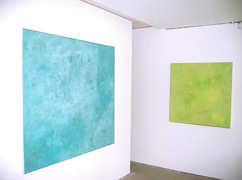 """""""Secret Garden"""", 2010, 100 x 100 m, Öl auf Leinwand, Besitz: Sammlung der Landessparkasse zu Oldenburg """"Im Norden"""", Ausstellungsansicht Galerie Hans Tepe, Damme"""