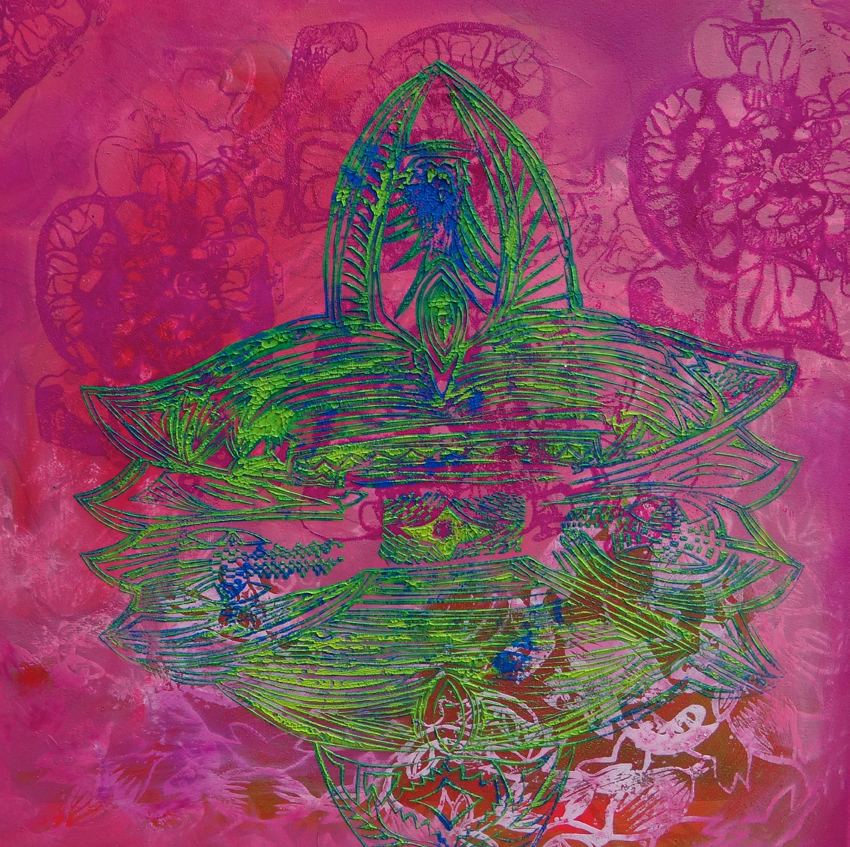 """Rosarot (Elif)"", 2014, Öl auf Leinwand, 80x80 cm"