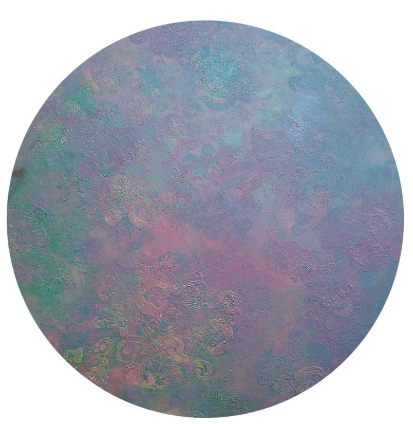 """""""Terra"""" 2011, Öl und Siebdruck auf Leinwand, 110 x 110 cm cm, Sammlung Hans Tepe (Berlin),"""