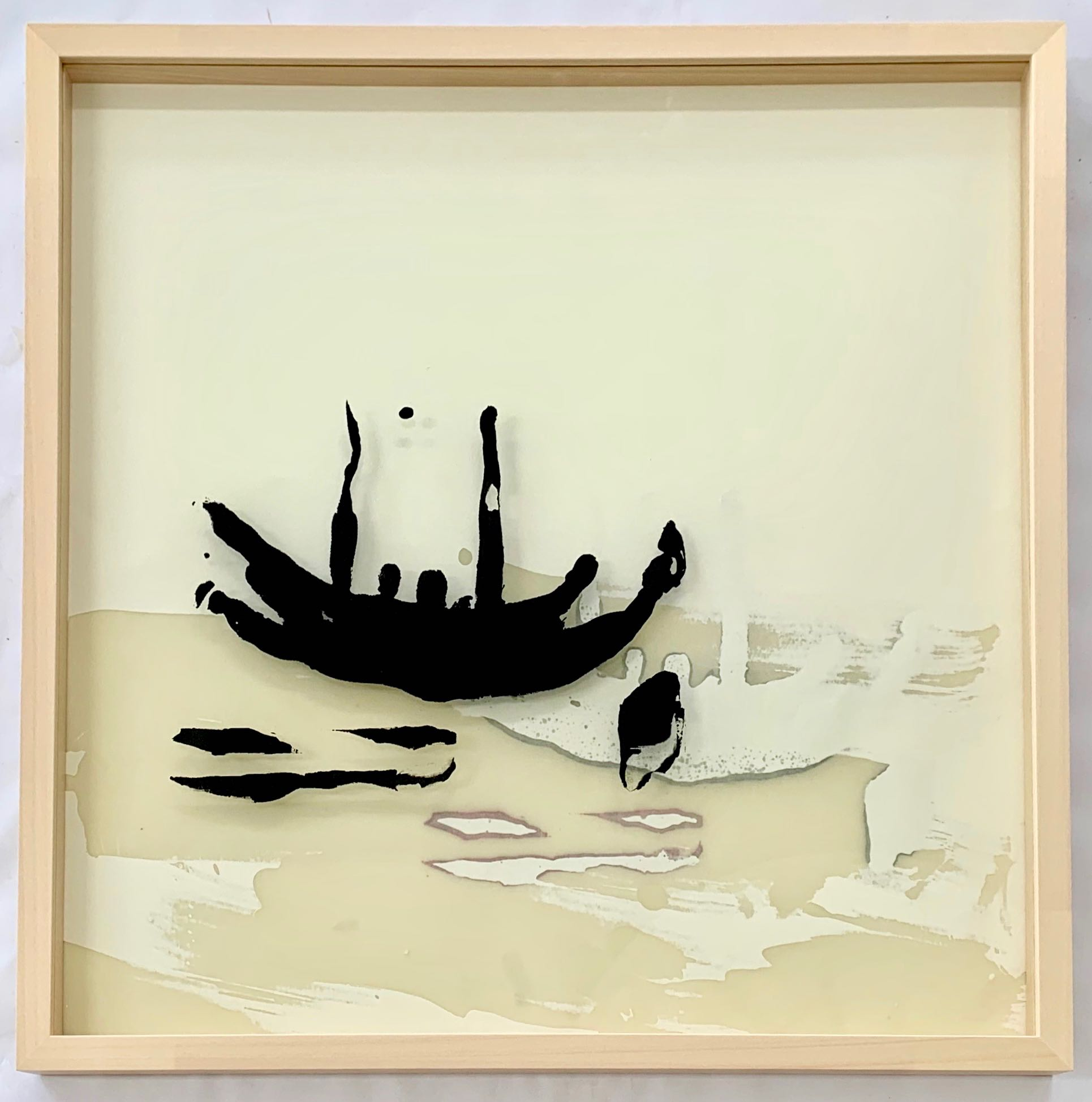Hoffnungsträger (2te Version),  Siebdruck auf Glas, 50 x 50 cm, gerahmt, 2019