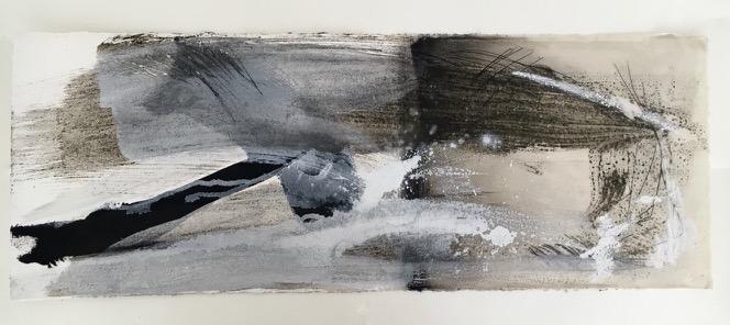 Nebendynamik, Pigment, Wachs und Acryl auf Papier, 29x76 cm, 2016
